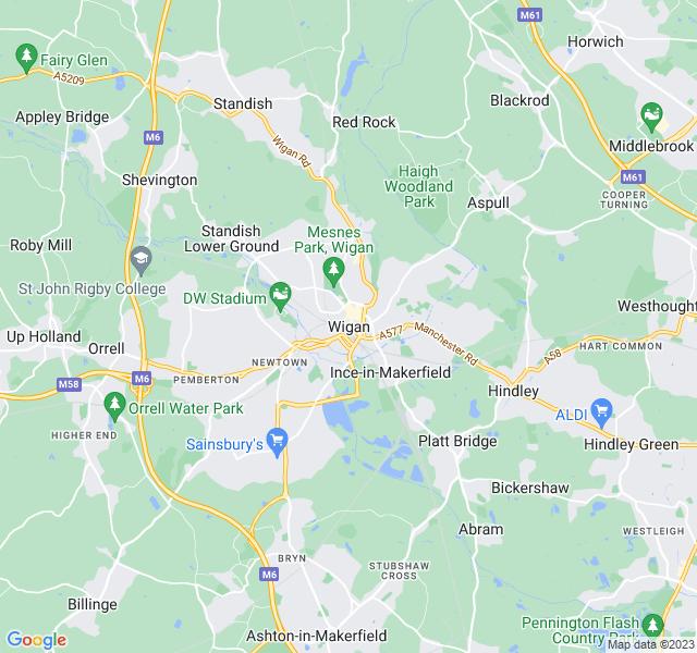 Website Designer Wigan Google map of location