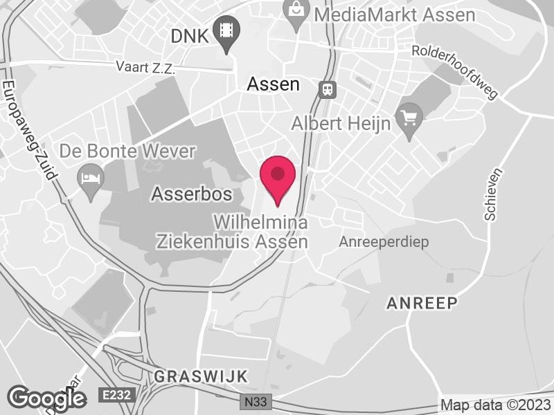 Google Map of Wilhelmina Ziekenhuis Assen Europaweg Zuid 1 9400 RA Assen