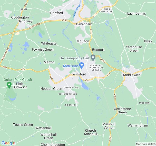 Website Designer Winsford Google map of location