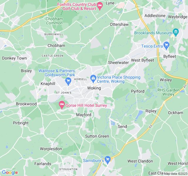 Website Designer Woking Google map of location