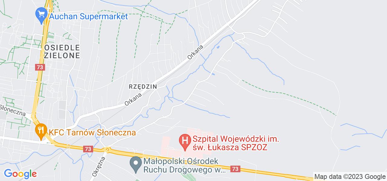 Jedna z ulic w Woli Rzędzińskiej – Heleny Marusarz i mapa dostępnych punktów wysyłki uszkodzonej turbiny do autoryzowanego serwisu regeneracji