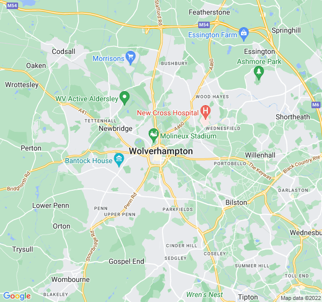 Website Designer Wolverhampton Google map of location