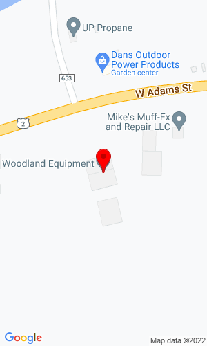 Google Map of Woodland Equipment Inc 1581 W. Adams Street, Iron River, MI, 49935