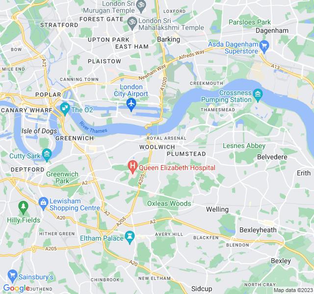 Website Designer Woolwich Google map of location