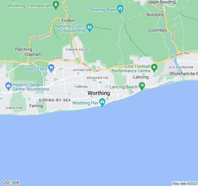 Website Designer Worthing Google map of location