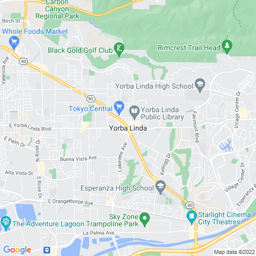 Map of Yorba Linda, CA