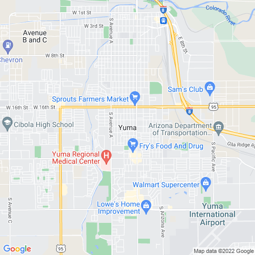 Map of Yuma, AZ