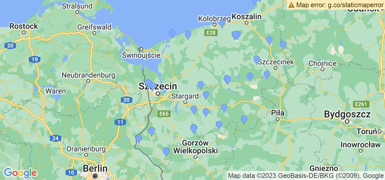 Mapka dostępnych punktów wysyłki filtrów cząstek stałych do profesjonalnego czyszczenia w serwisie na terenie województwa zachodniopomorskiego