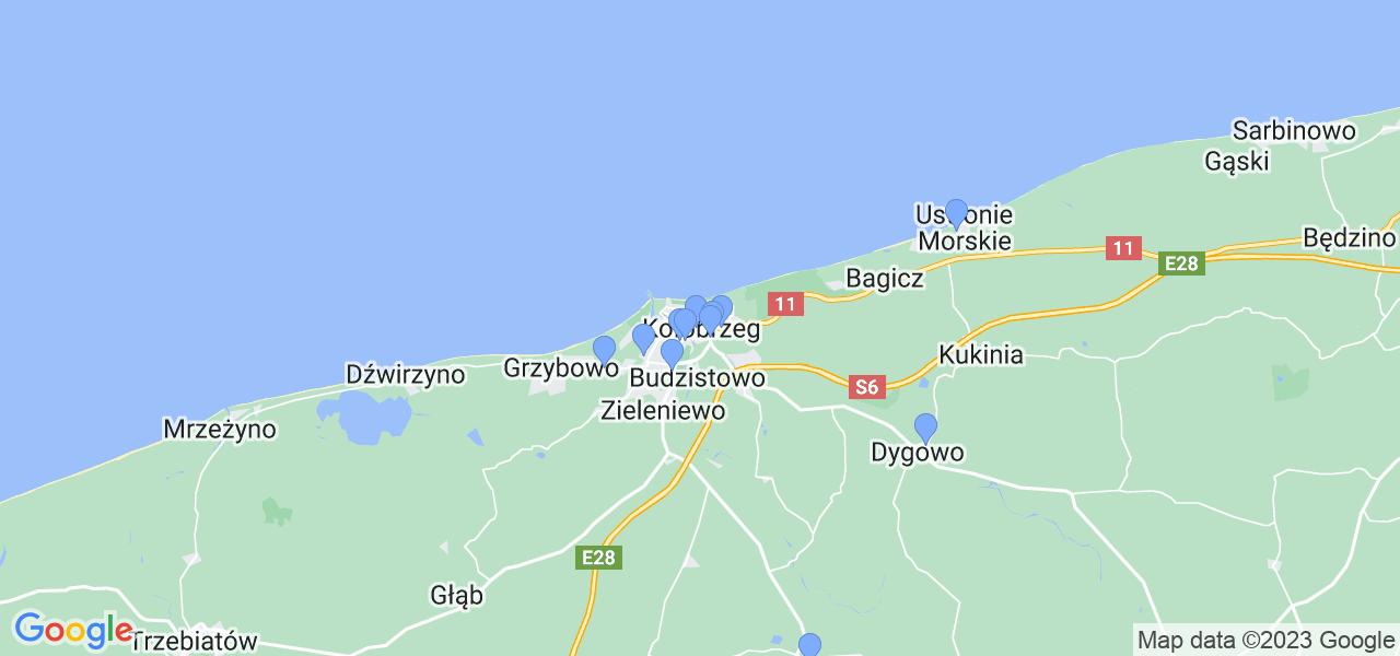 Mapka lokalizacji punktów nadania, z których mogą korzystać klienci serwisu regeneracji turbo w celu wysłania turbosprężarki – powiat kołobrzeski