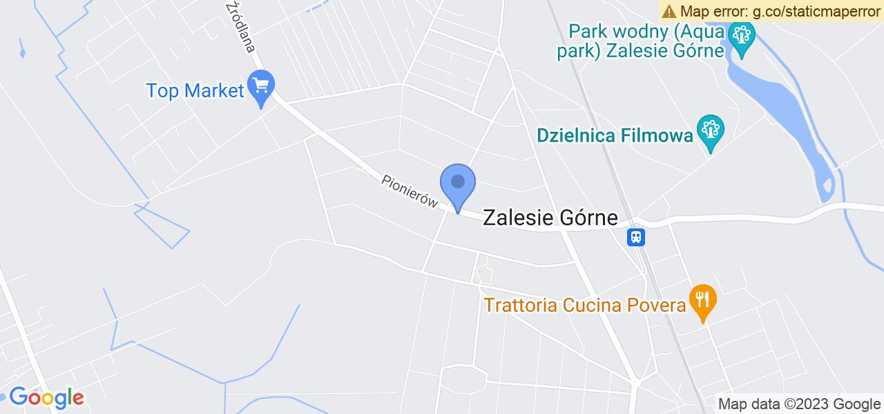 Jedna z ulic w Zalesiu Górnym – Pionierów i mapa dostępnych punktów wysyłki uszkodzonej turbiny do autoryzowanego serwisu regeneracji