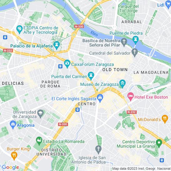 Mapa redondo Zaragoza