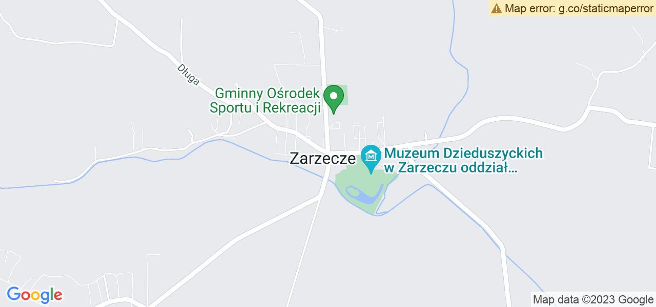 Jedna z ulic w Zarzeczu – Zarzecze 36 i mapa dostępnych punktów wysyłki uszkodzonej turbiny do autoryzowanego serwisu regeneracji