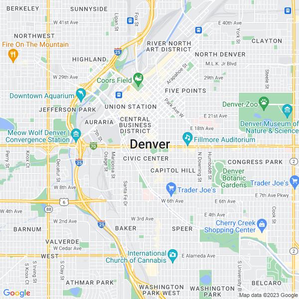 Map of denver, Colorado