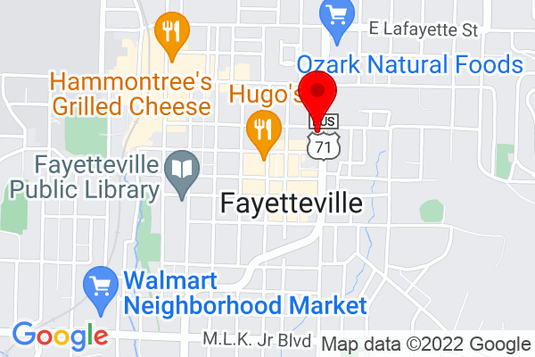 Google Map of 123 N College Ave Fayetteville AR