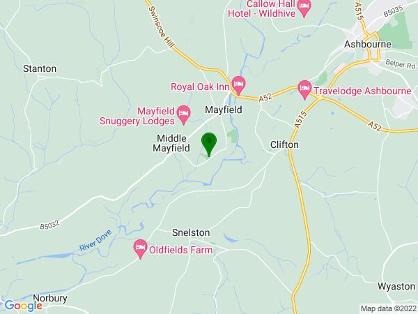 Google Map of mayfield parish church, staffordshire, uk