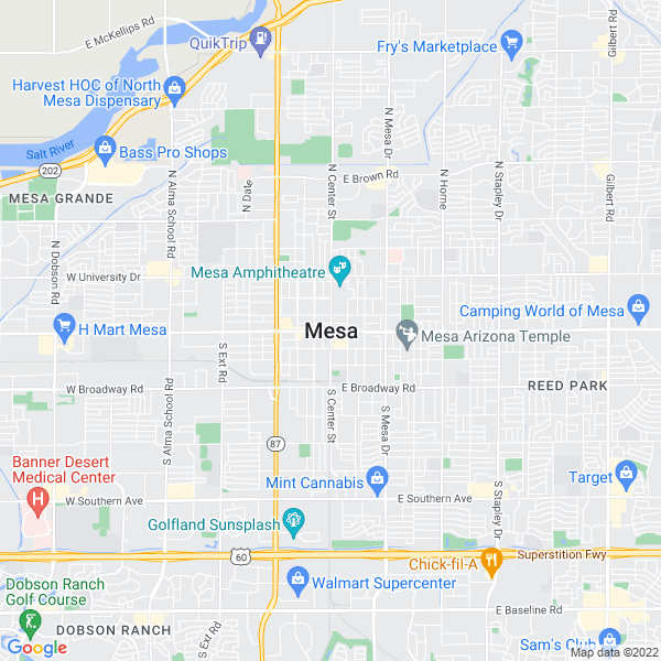 Map of mesa, Arizona