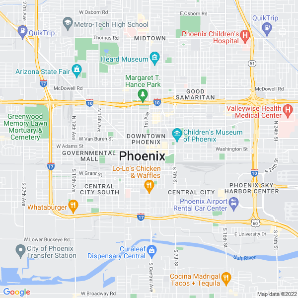 Map of phoenix, Arizona