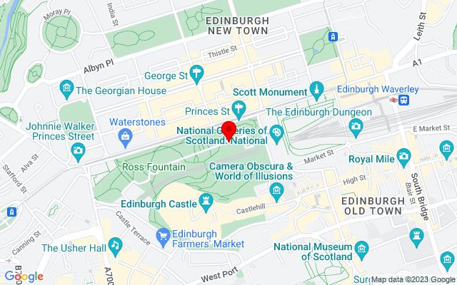 Google Map of princes street gardens edinburgh