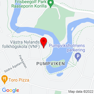 Map showing Västra Nylands folkhögskola, link leads to Google Maps