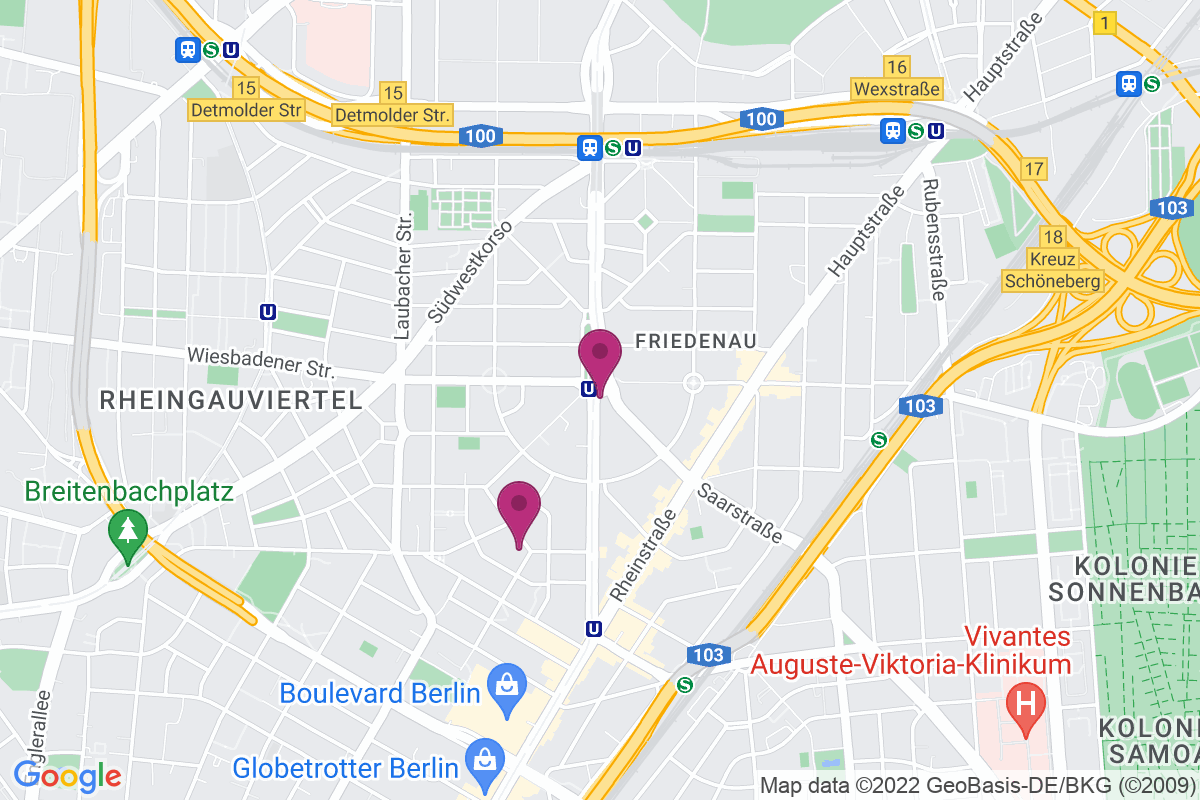 Google Map of simplay Musikschule, Friedrich-Wilhelm-Platz 9, 12161 Berlin