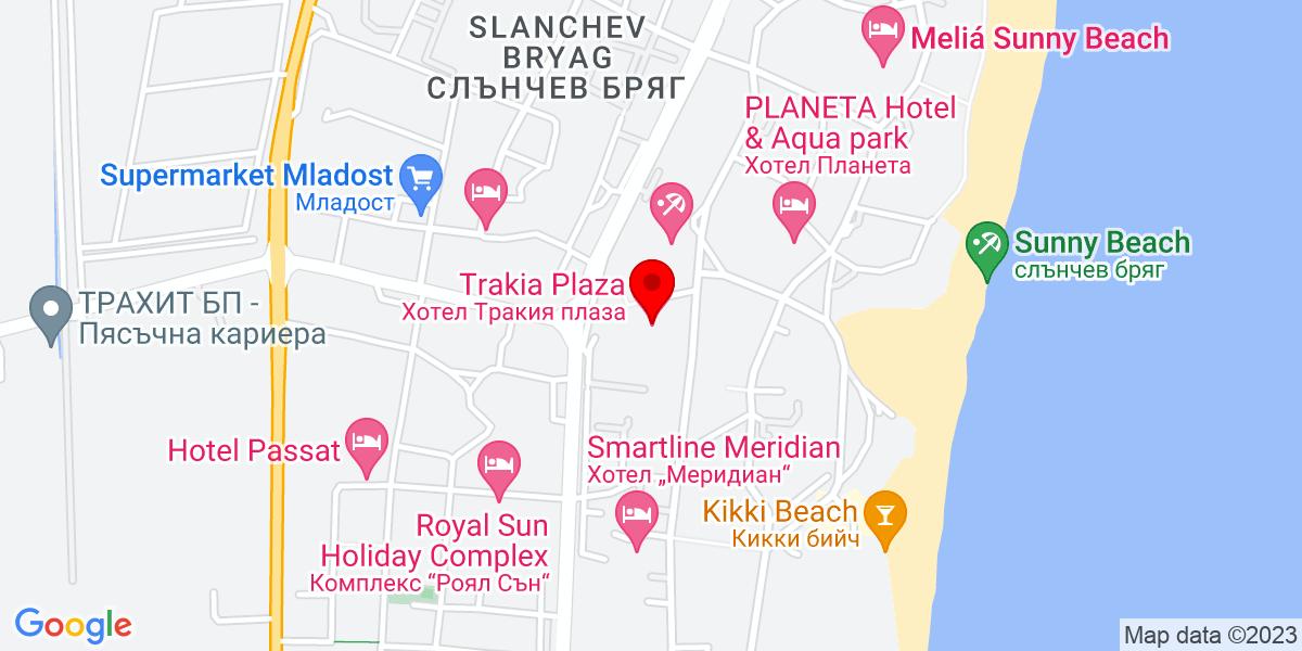 Google Map of trakia hotel sunny beach