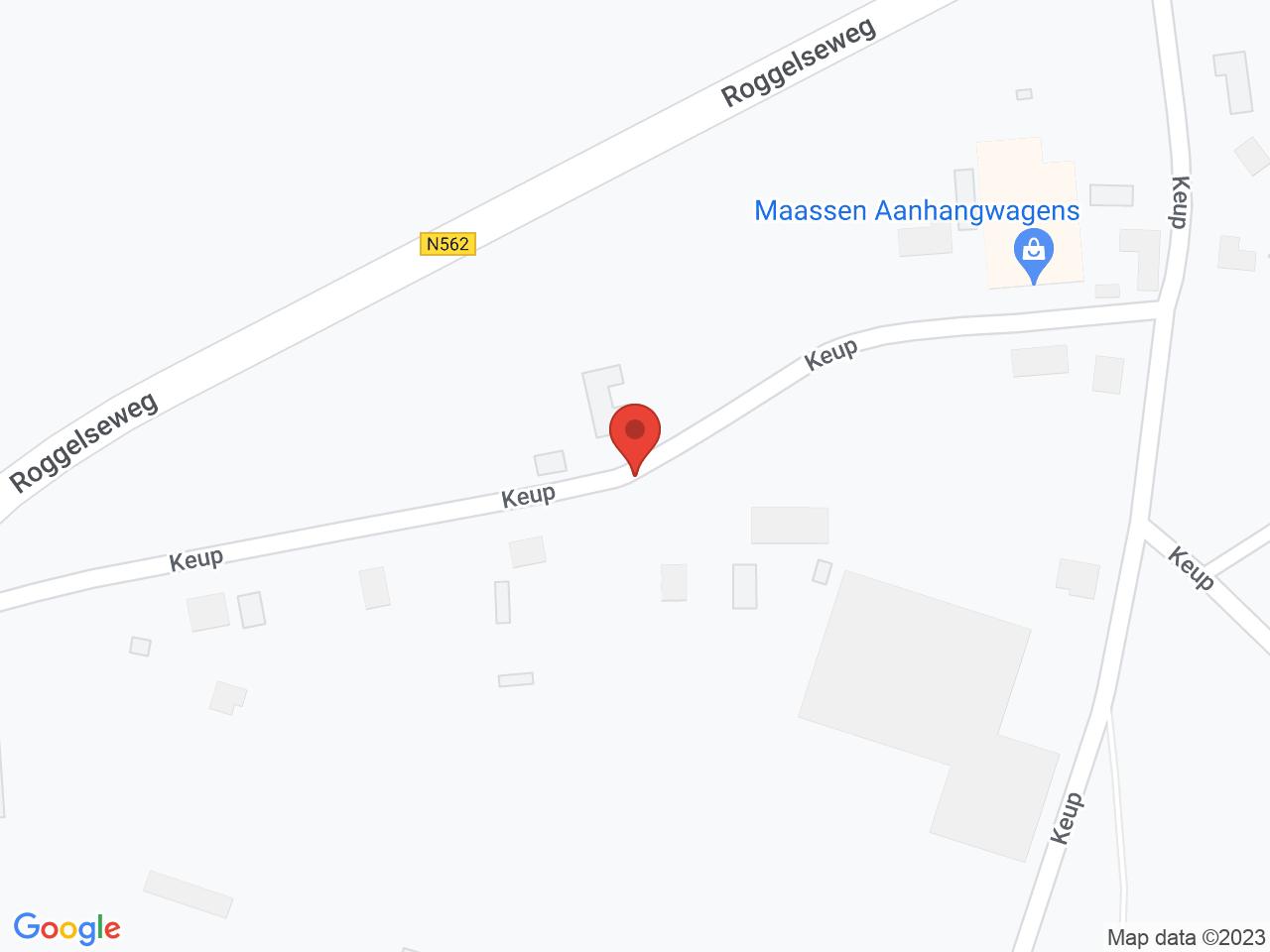 Kabelroute Keup Egchel naar Industrieterrein Beringe op een kaart getoond.