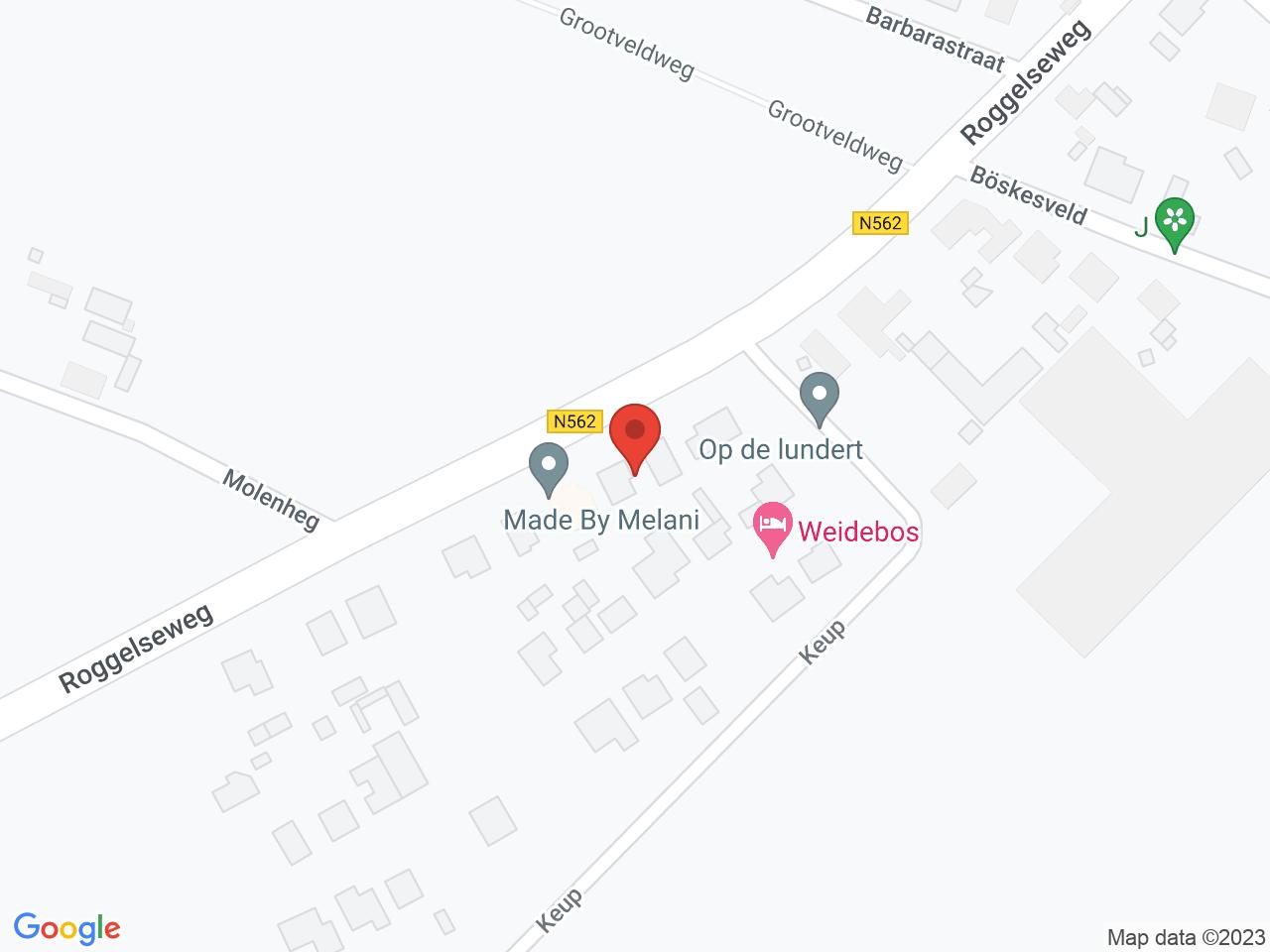 Werkzaamheden bebouwde komgrens op de Roggelseweg (N562) Helden op een kaart getoond.