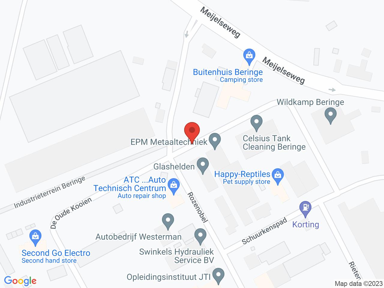 Industrieterrein Beringe op een kaart getoond.