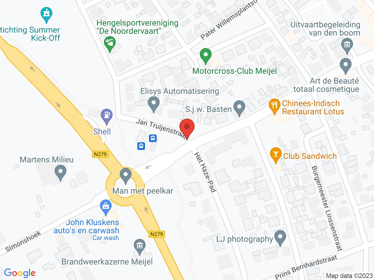 Herinrichting Jan Truijenstraat Meijel op een kaart getoond.