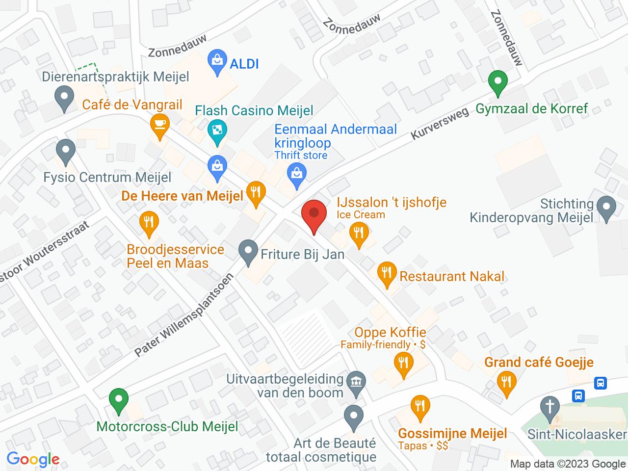 Wegwerkzaamheden Dorpsstraat Meijel op een kaart getoond.