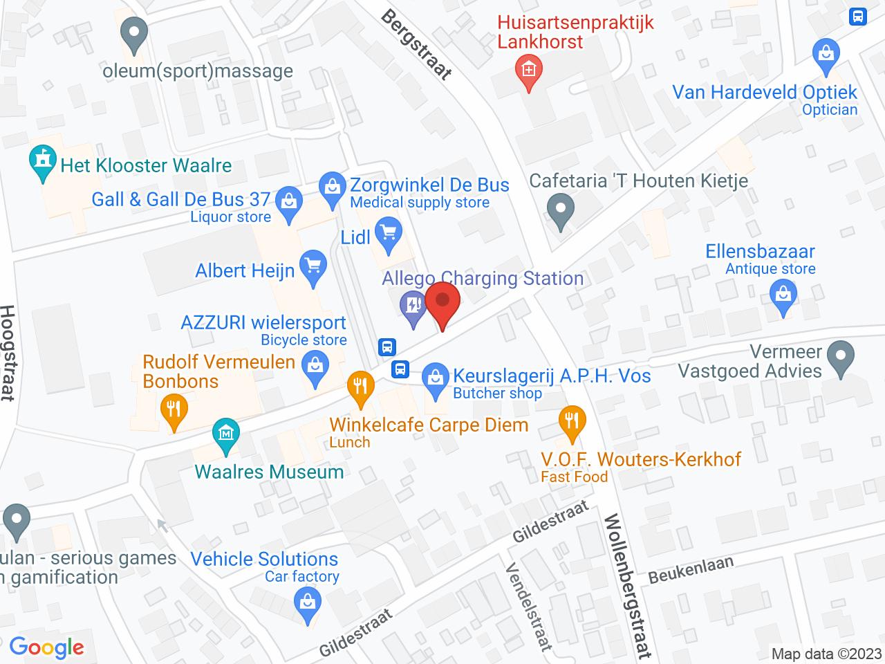 Winkelcentrum De Bus op een kaart getoond.