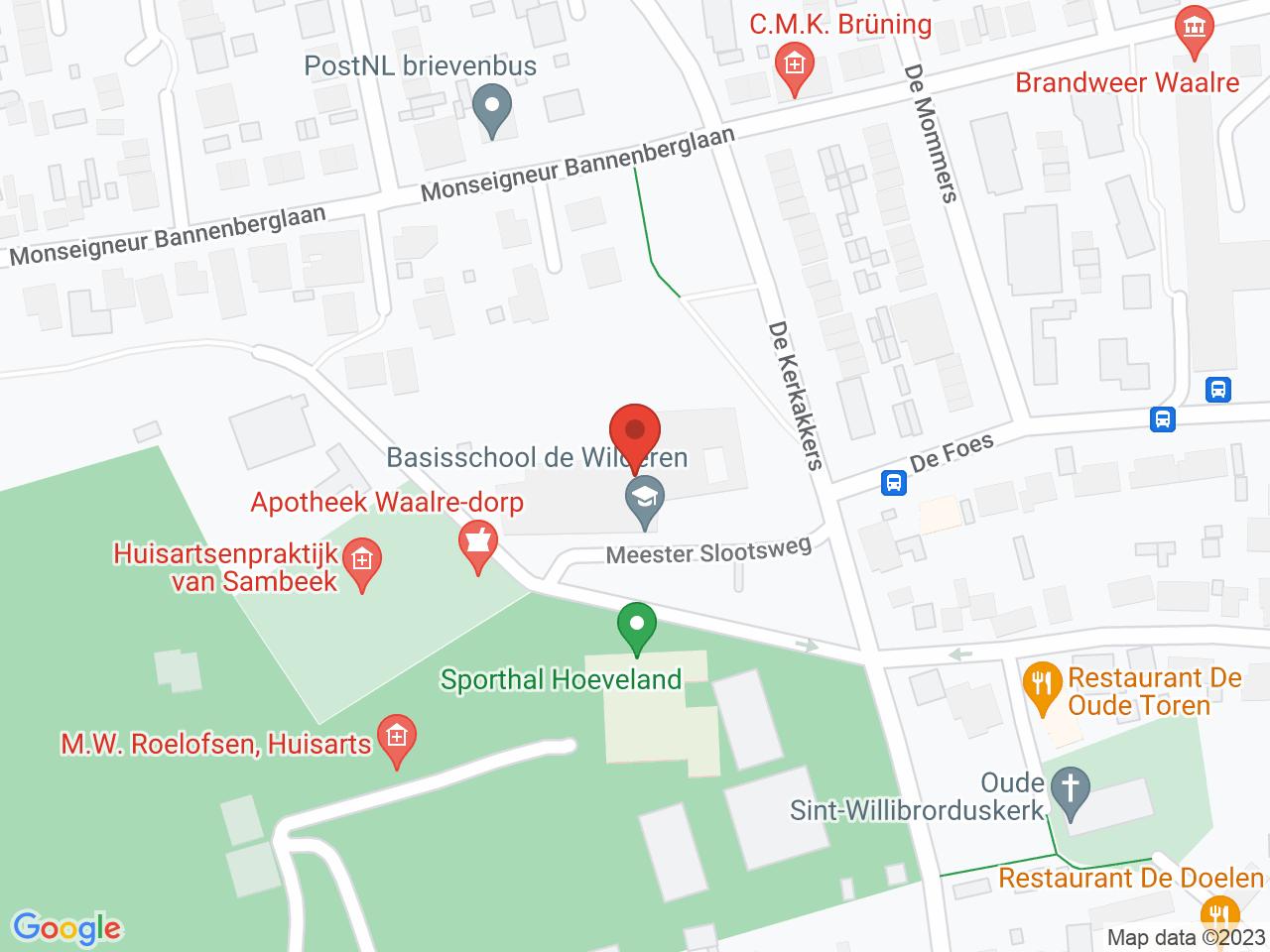 Sporthal Hoeveland-Basisschool De Wilderen op een kaart getoond.
