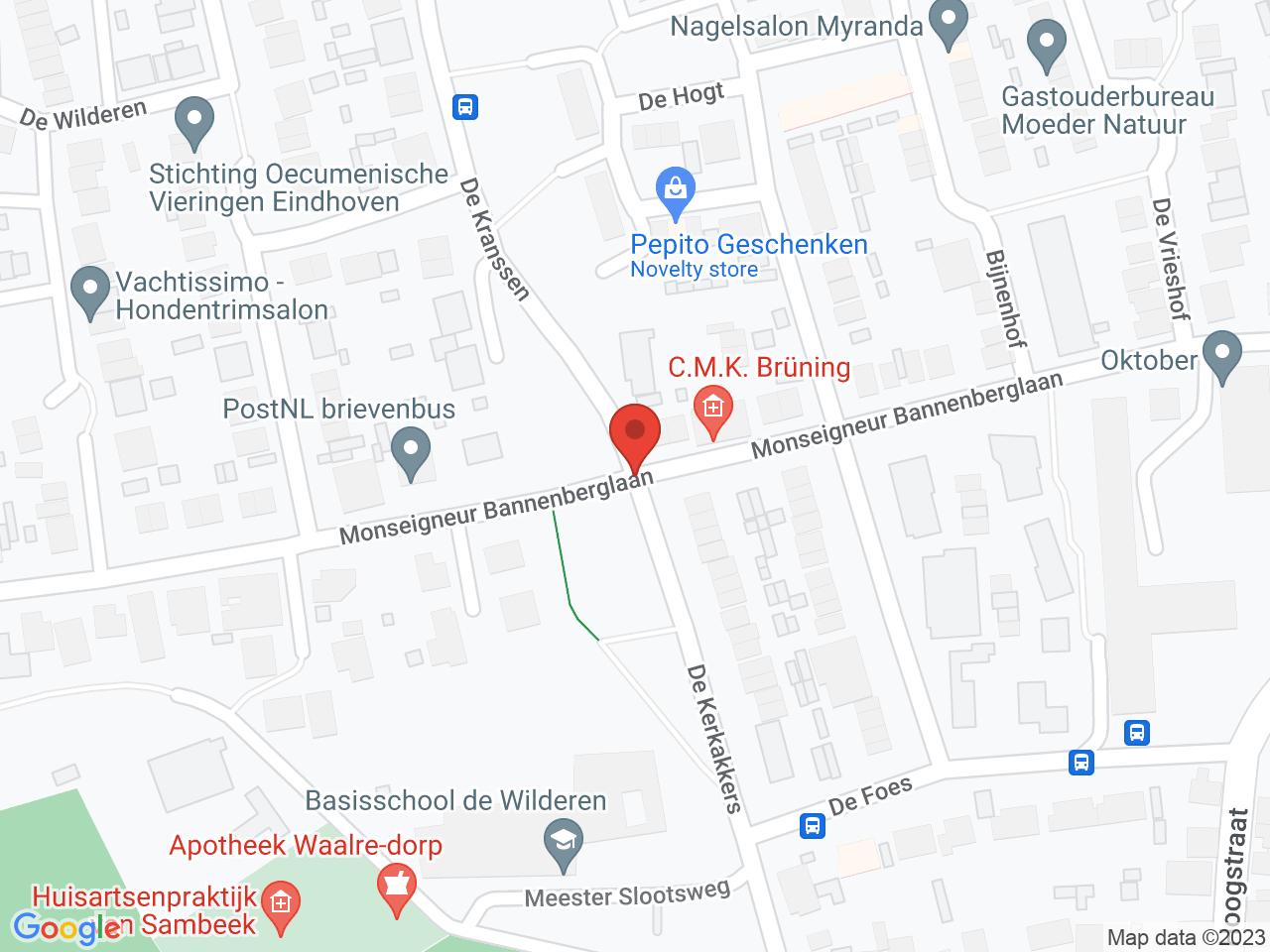 Zorgcentrum Hoevenakkers op een kaart getoond.