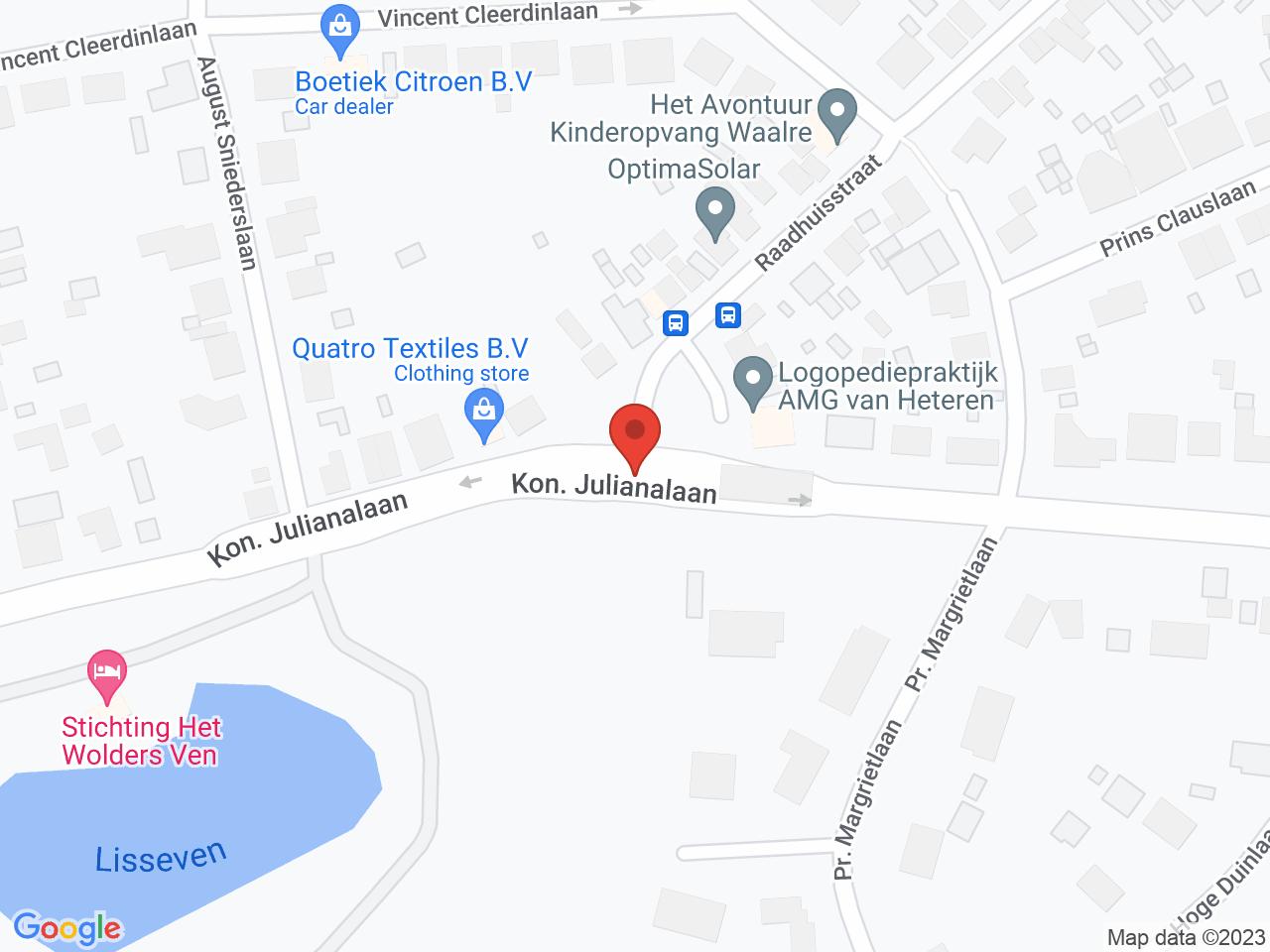 Asfaltwerkzaamheden kruising Koningin Julianalaan / Raadhuisstraat: 16 en 17 oktober 2021 op een kaart getoond.