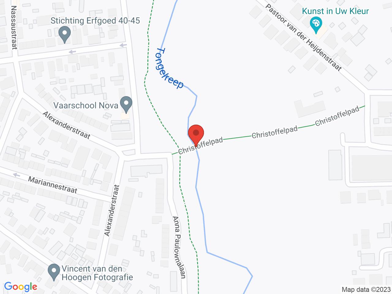 Afsluiting fietsbrug Christoffelpad per 16 juli 2021 op een kaart getoond.