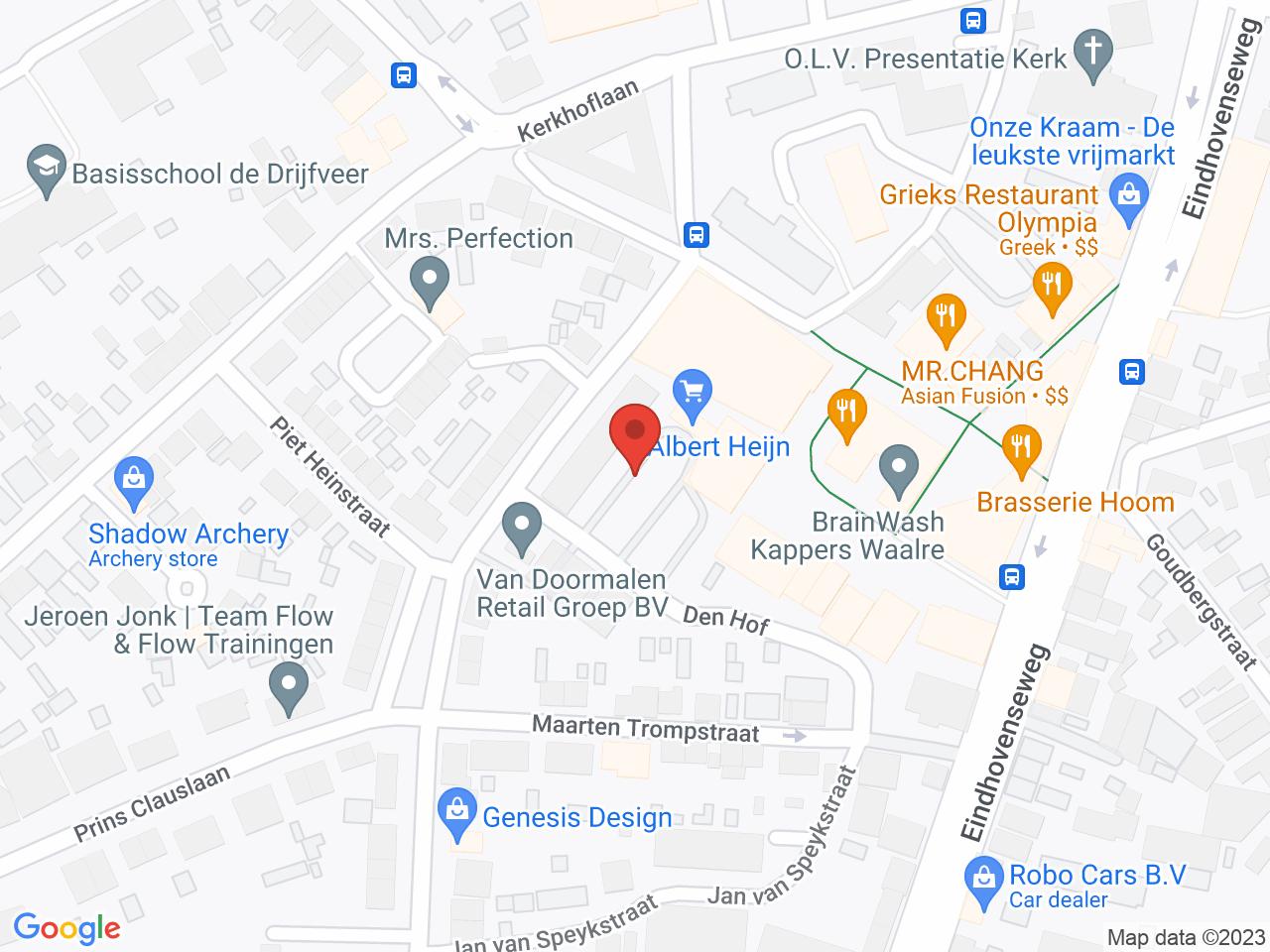 Zonnepanelen parkeerplaats op een kaart getoond.