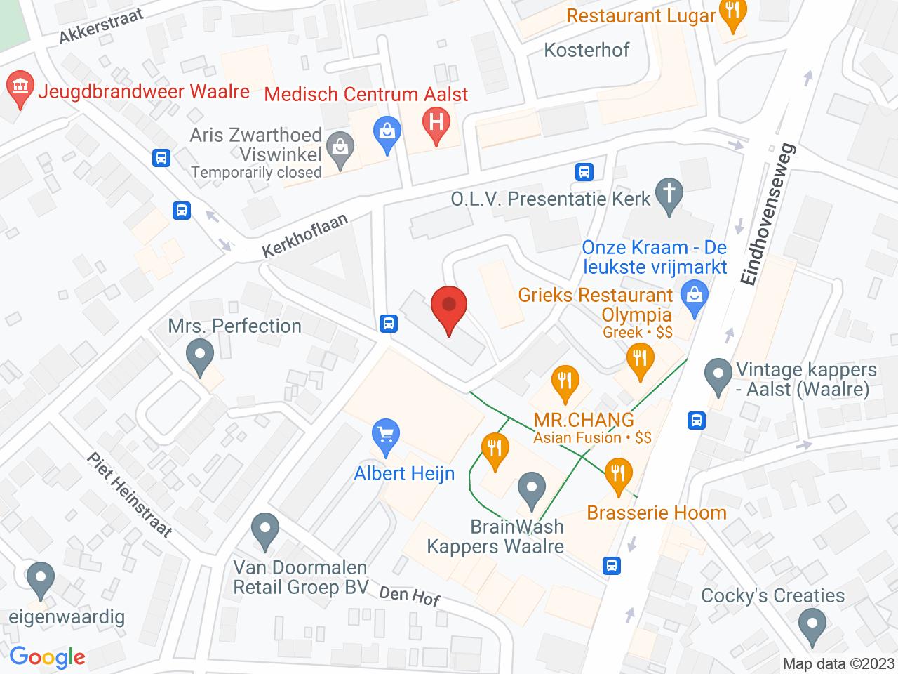 Hofstede appartementen op een kaart getoond.
