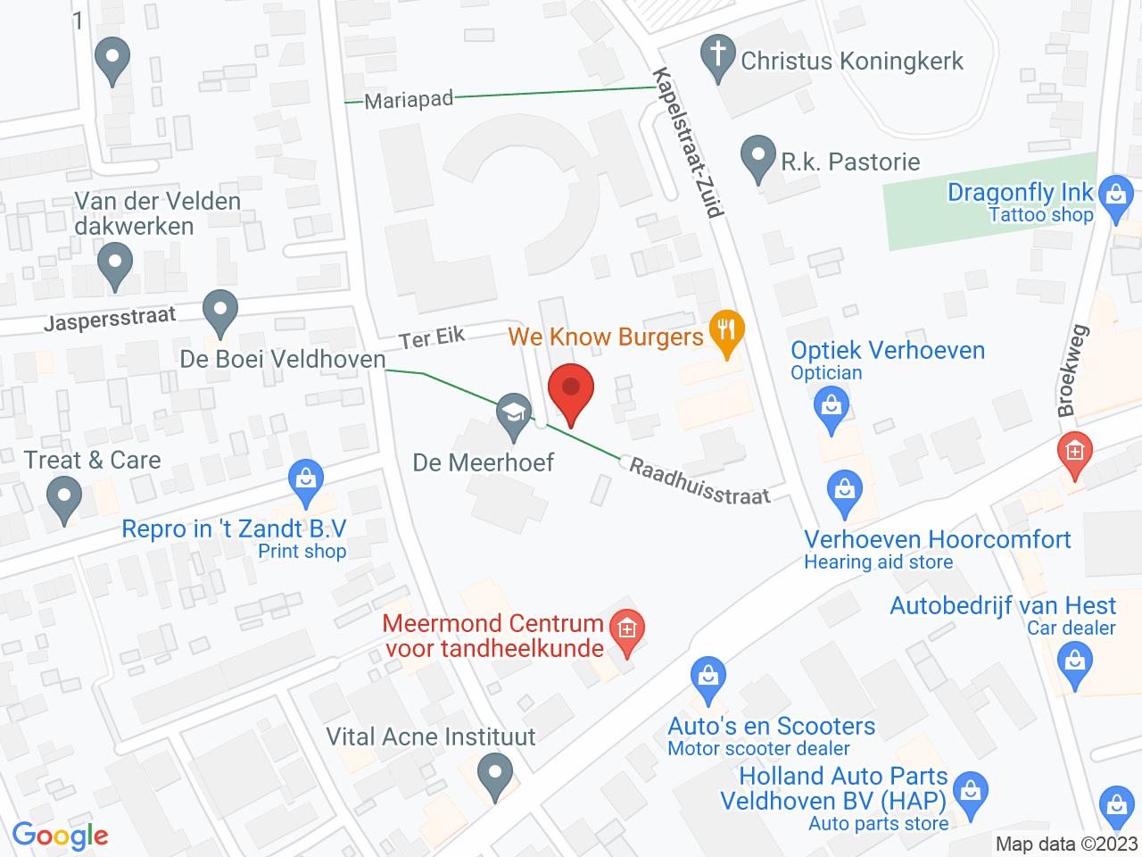 Brede school Meerhoef op een kaart getoond.