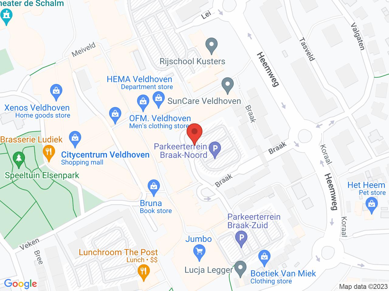 Parkeerterrein Braak-Noord op een kaart getoond.