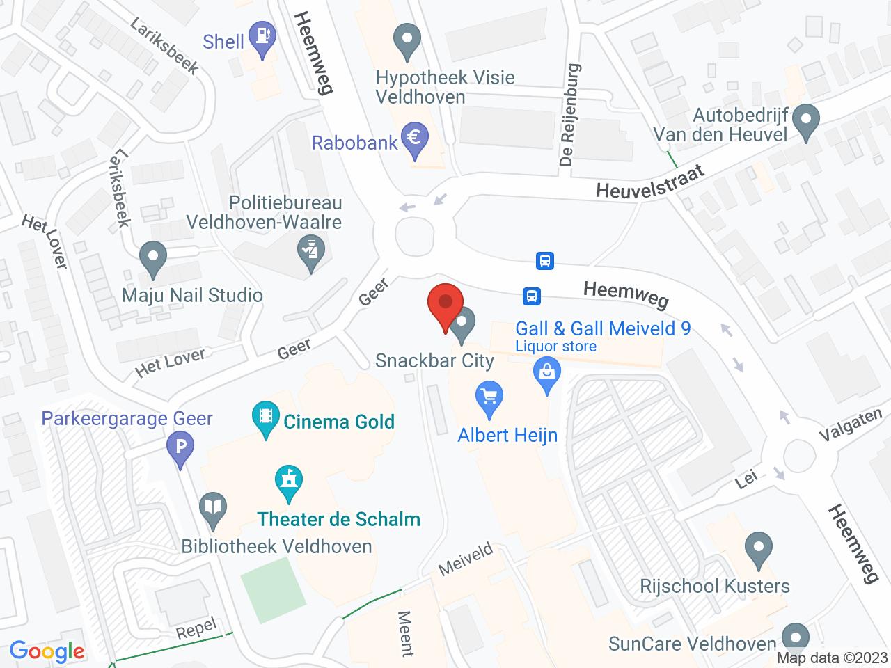 Parkeerterrein Meiveld op een kaart getoond.
