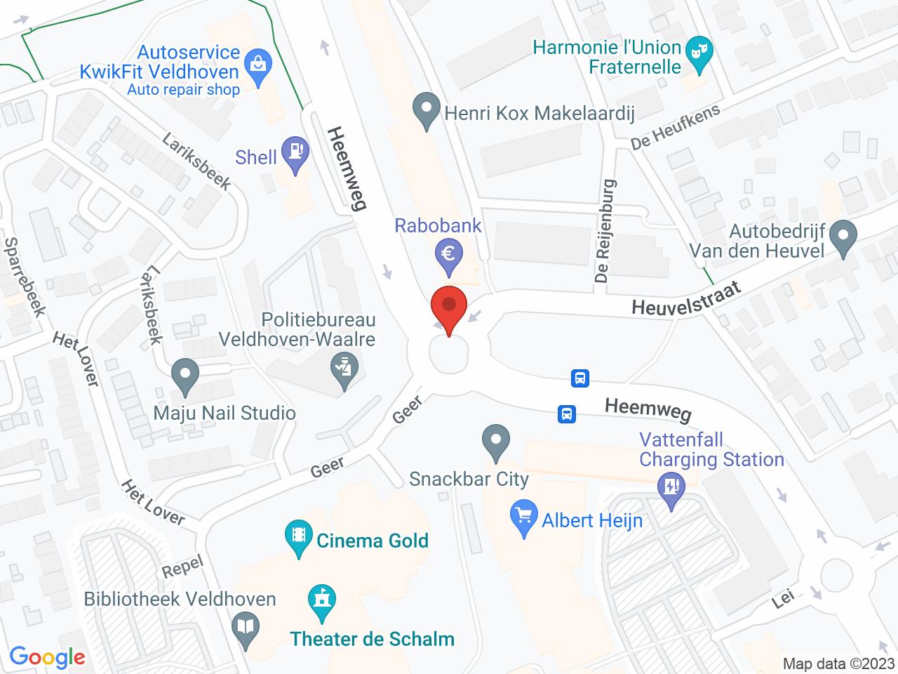 Rotonde Heemweg - Heuvelstraat op een kaart getoond.