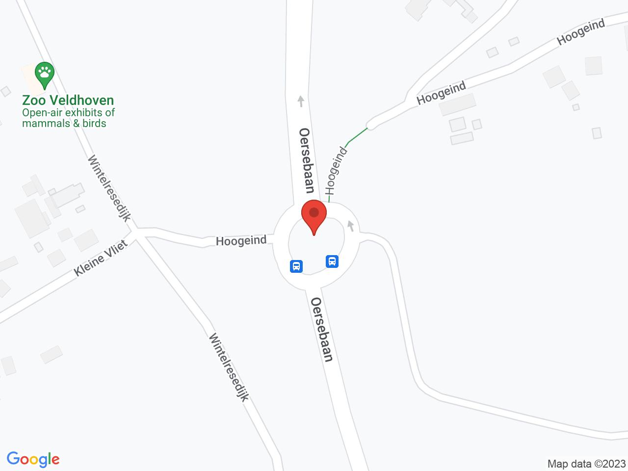 Rotonde Oersebaan - Hoogeind op een kaart getoond.