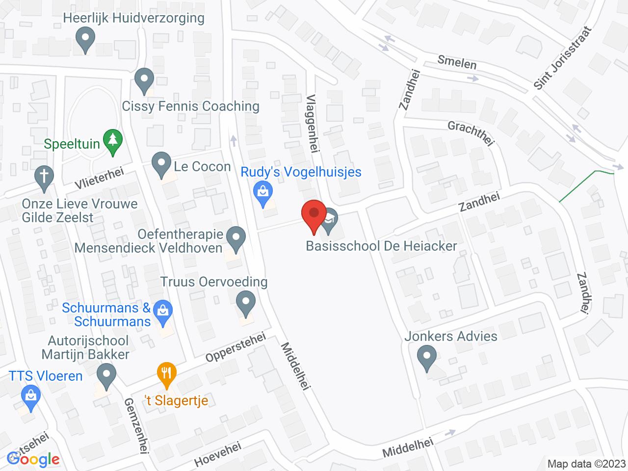 Brede school Heiacker (locatie Heikant) op een kaart getoond.