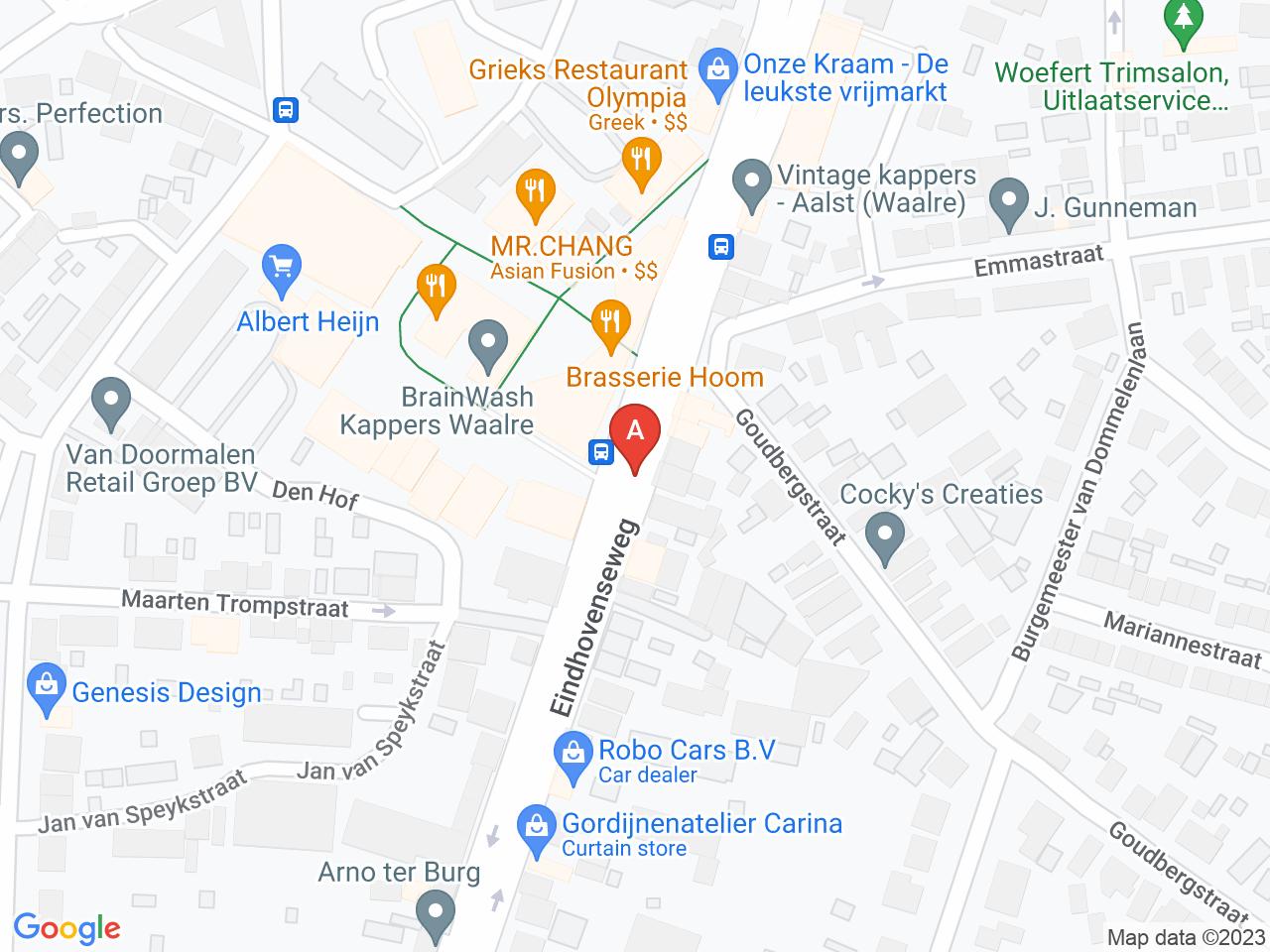 Herinrichting Centrum (Den Hof) en Eindhovenseweg op een kaart getoond.