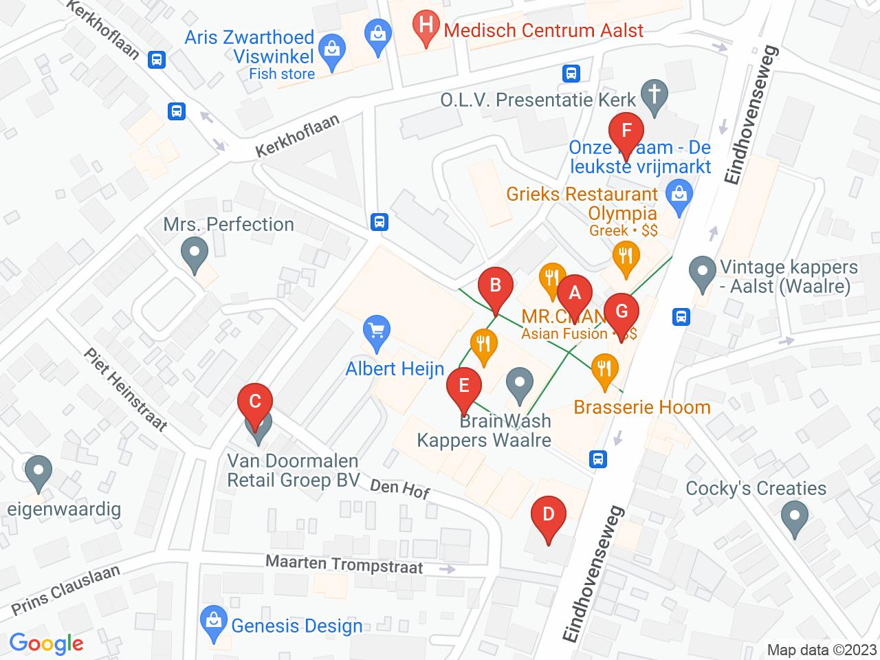De adressen op een kaart getoond.