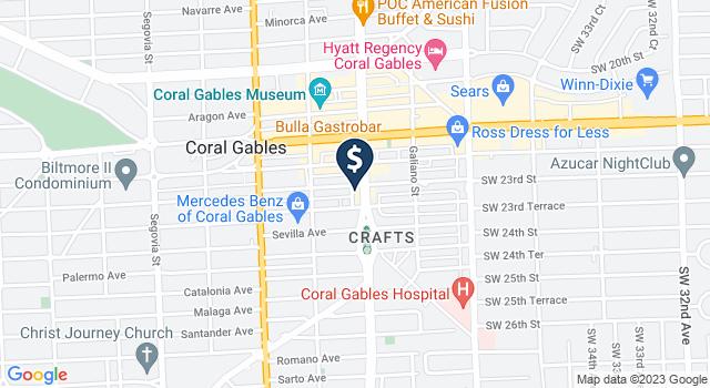 Google Map of 2610 Ponce de Leon Boulevard, Coral Gables, FL 33134
