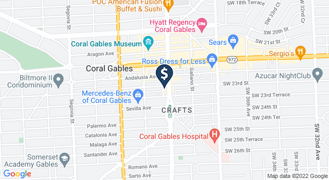 Google Map of 2610 Ponce de Leon Boulevard, Coral Gables, FL 33134