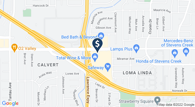 Google Map of 5180 Stevens Creek Blvd., San Jose, CA 95129