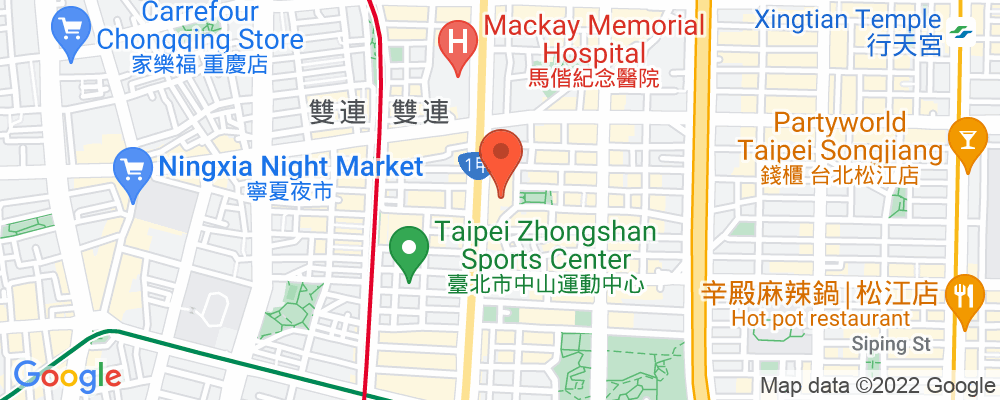 Staticmap?key=aizasyaeupgg pxecbls1w90qkhpchjmzxtq1co&center=台北市中山區中山北路二段63號&zoom=15&scale=2&size=500x200&maptype=roadmap&format=png&visual refresh=true&markers=size:mid%7ccolor:0xfb5937%7clabel:%7c台北市中山區中山北路二段63號
