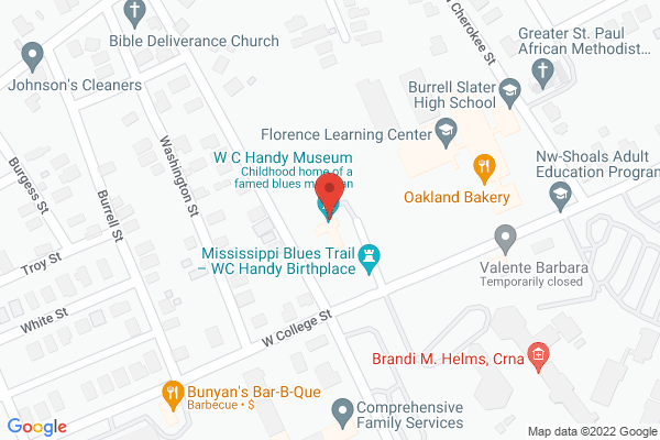 Mapped location of W. C. Handy Birthplace, Museum & Library